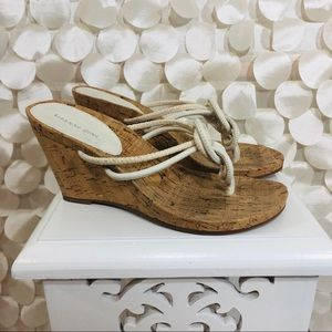 🌈 Gianni Bini Cream/White and Cork Beach Sandal